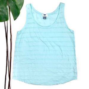Old Navy Light Aqua Blue Eyelet Stripe Tank Top S